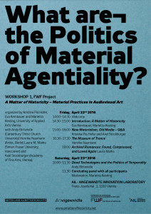 "Workshop #1 ""What are the Politics of Material Agentiality?"""